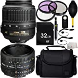 MUST HAVE Dual Lens Kit for D3000 D3200 D3300 D5000 D5100 D5200 D5300 D5500 D7000 D7100 D7200 D90 D80 Digital SLR Cameras. Includes Nikon AF-S DX NIKKOR 18-55mm f/3.5-5.6G VR Lens + Nikon AF NIKKOR 50mm f/1.8D Lens + 32GB Memory Card + MUCH MORE - International Version (No Warranty)
