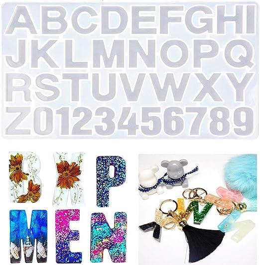 alfabeto y número de forma Fundición resina de silicona Resina Epoxi yaoyin 19Pcs Moldes
