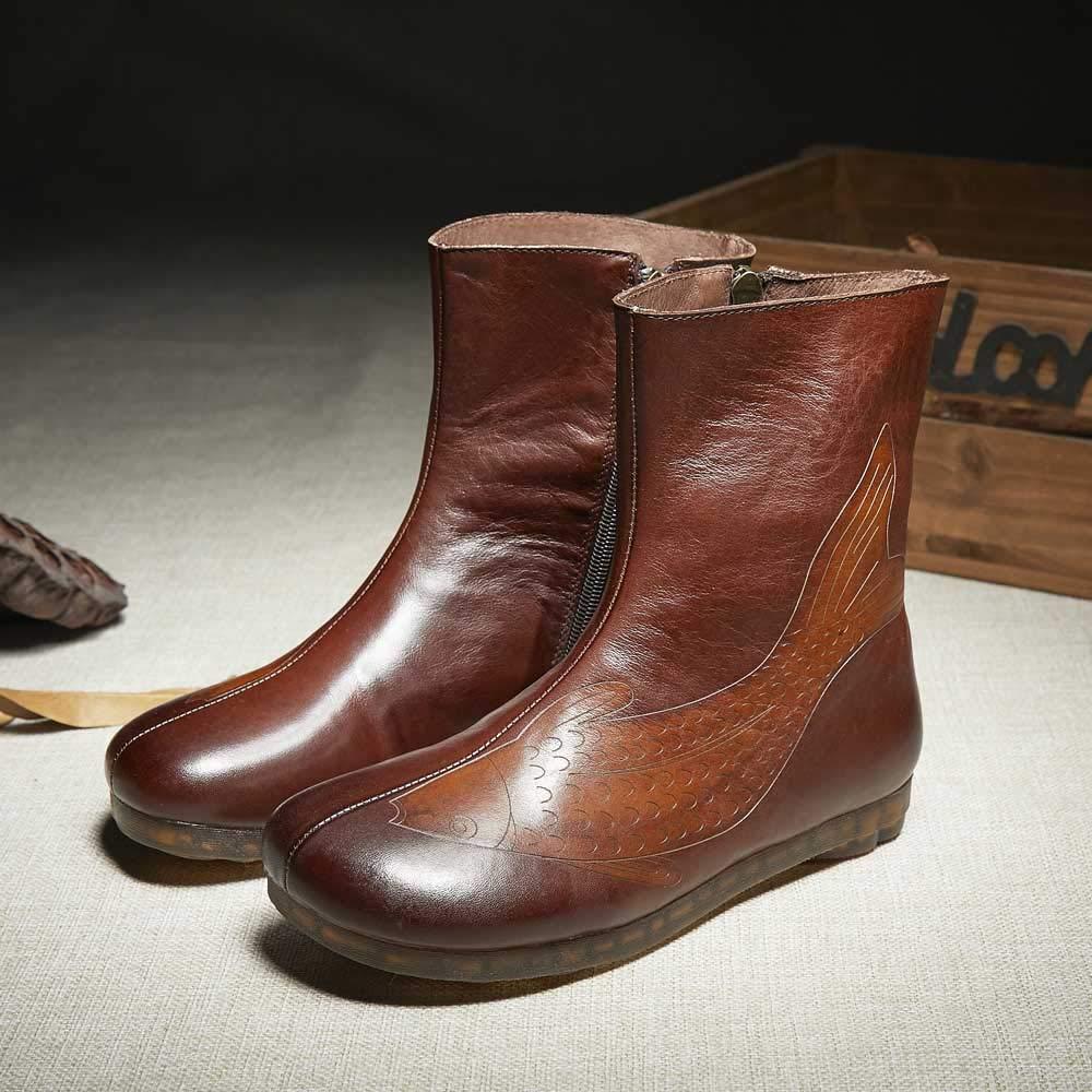 Damen es Ankle Stiefel Vintage Riding Stiefel Zipper Leder Leder Leder Sole braun Größe 35-40 d36752