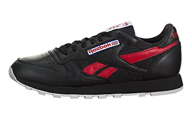 Reebok Men s Classic Leather So Trainers Running Shoes BS5208 -  Black Red Blue ( 34a97b906