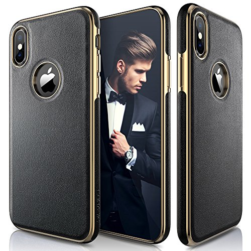 LOHASIC iPhone Xs Case, iPhone X Case Luxury Leather Ultra Slim & Thin Soft Flexible Gold Electroplated Bumper Anti-Slip Grip Scratch Resistant Protective Cover for Apple iPhone X XS (2018) - Black ()