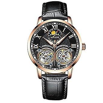 AILANG Reloj de Los Hombres de primeras Marcas de Lujo Mecánico Automático Relojes Doble Tourbillon Cuero