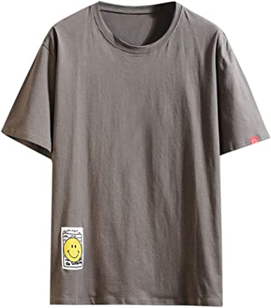 Camiseta Hombre Verano Manga Corta Color sólido Moda Casual T ...