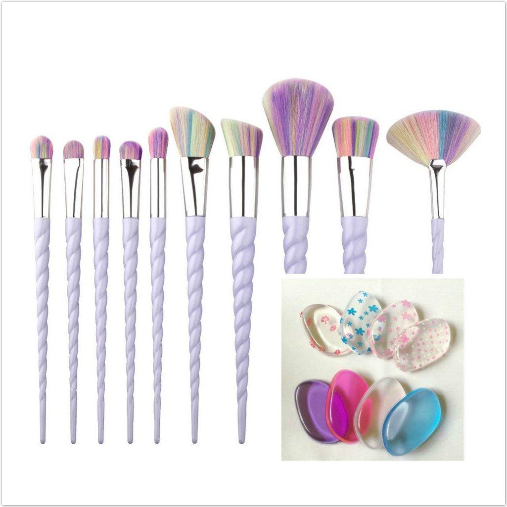 4 Pack Silicone Puffs PLUS 10pcs Fashion New style Design Handle Shape Make Up Brushes For Foundation Eyebrow Eyeliner sf-world