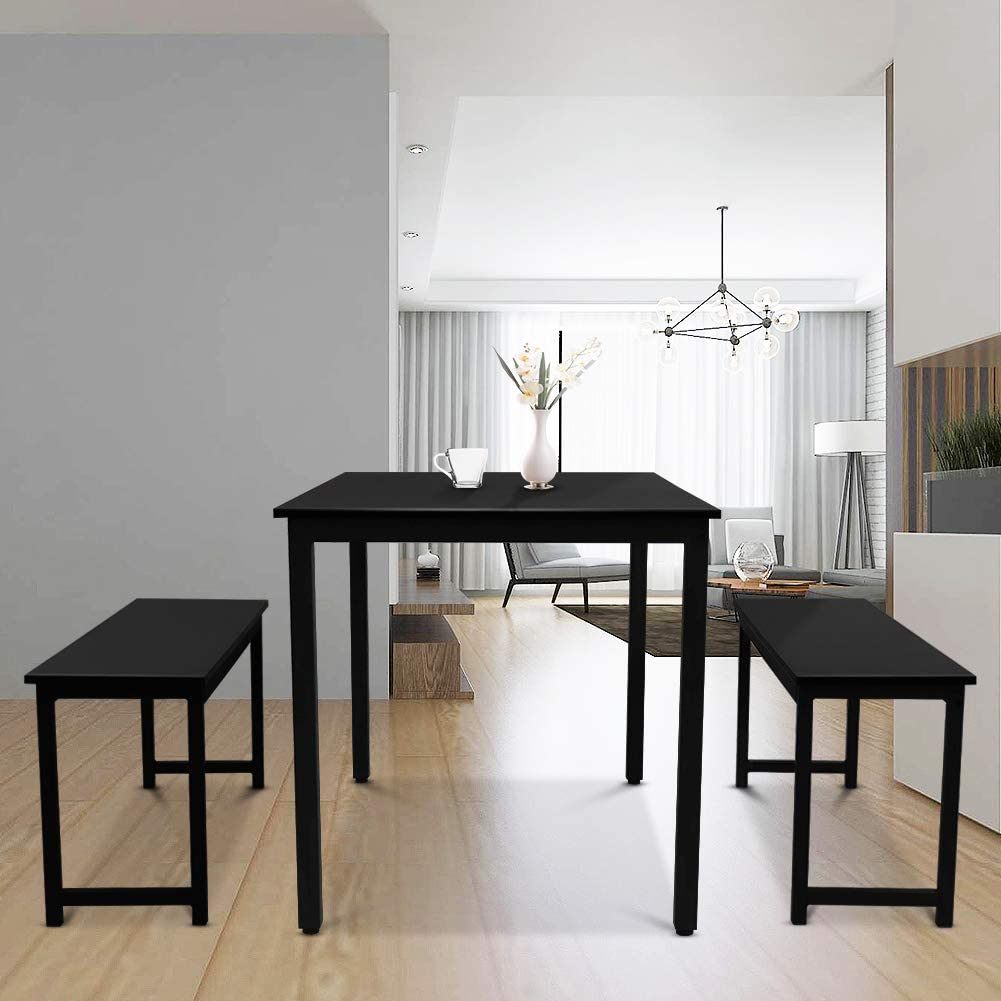 Black LTTROMAT 3 Pieces Dining Set Kitchen Table and Chairs for 2-4 Perfect for Breakfast Nook Living Room