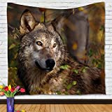 Realtree Wolf Tapestry Wall Hangings 59'' x 51'', Tapestry Wall Decor, Bedspread Throw Blanket