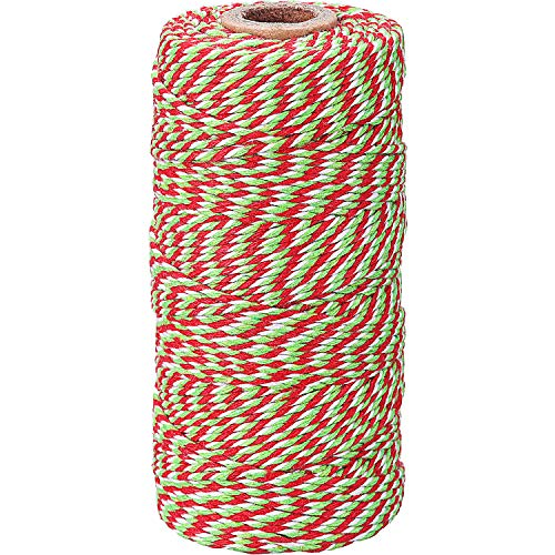 eBoot Cotton Kitchen Twine, Cooking String, Bakers Twines for Arts Crafts and Gift Wrapping, 328 Feet (Christmas Red and Green)