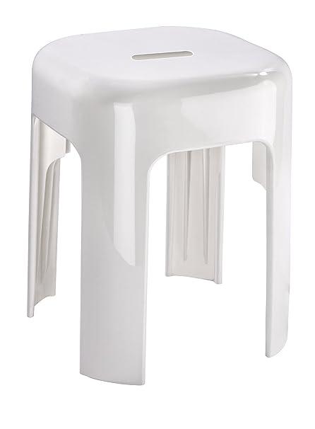 Wenko 22160100 Tabouret de Salle de Bains Alaska Blanc, 37 x 45.5 x 37 cm,  Plastique, 35x35x4,5 cm