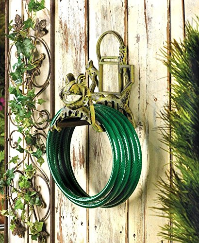 (J&T Garden Hose Holder Cast Iron Frog Tangle VINTAGE STYLE Free Organize Happy Fun)