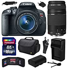 Canon EOS Rebel T5i (700D) Digital SLR with 18-55mm STM and EF 75-300mm f/4-5.6 III Lens includes 16GB Memory + Large Case + Extra Battery + Travel Charger + Memory Card Wallet + Cleaning Kit (16GB Value Bundle) 8595B003