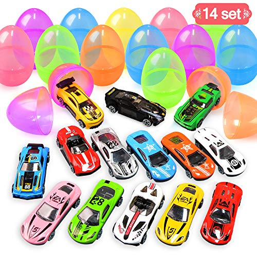 Cars Easter Eggs (LUDILO 14Pcs 3.2'' Easter Eggs + 14pcs Die-Cast Cars Easter Egg Fillers Party Favors for Kids Premium Metal Cars Toys Easter Basket Stuffers Easter Gifts Goodie Bag Filler Piñata Class)