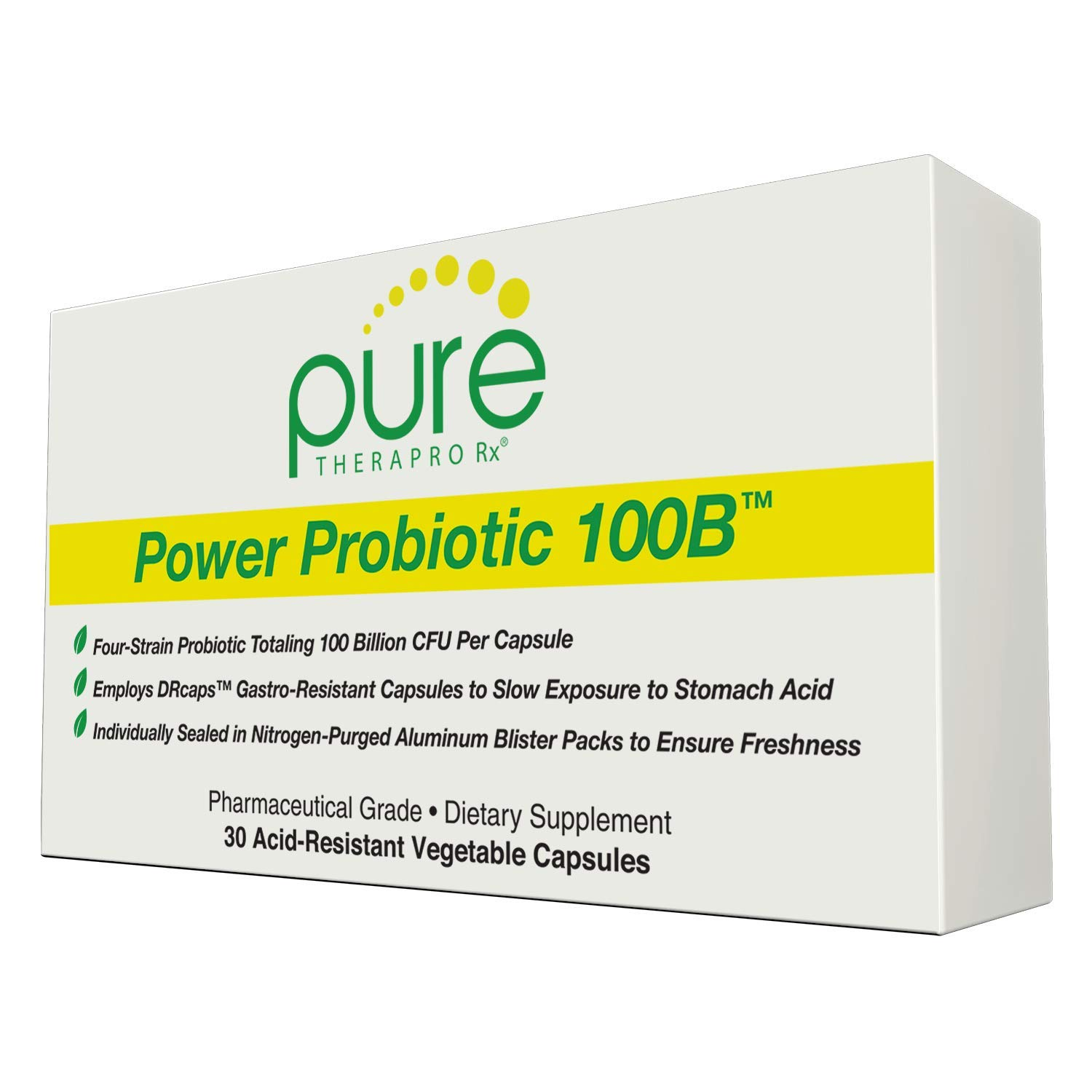 Power Probiotic 100B - 30 Acid-Resistant Capsules | 4 Proven Strains - 100 Billion CFU/Capsule | Sealed in Nitrogen-Purged Aluminum Blister Packs to Insure Freshness | NO Refrigeration Required