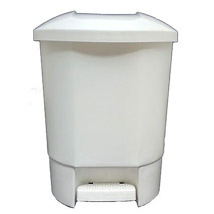 Bittamina Cubo de Basura 30 litros con 3 Compartimentos para Reciclaje Color Blanco.