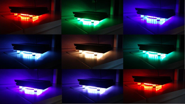SM-PC® PS4 / PS4 Pro Kühler RGB LED USB Design Cooler Lüfter 18cm ...