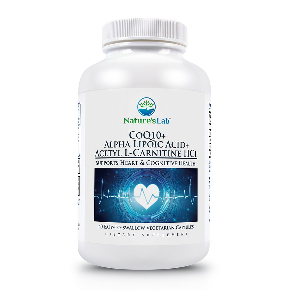 Nature's Lab CoQ10 + Alpha Lipoic Acid + Acetyl L-Carnitine HCl - Supports Heart Health, Brain Health, and Cellular Health - 60 Capsules (1 Month Supply)