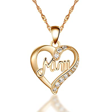 925 sterling silver gold mum heart pendant necklace with white cz 925 sterling silver gold mum heart pendant necklace with white cz including 16 20 inch aloadofball Image collections