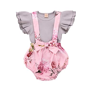 c5c6d5195ae 2Pcs Infant Toddler Baby Girls Outfits Set Ruffled Sleeveless Stripe Tops    Floral Print Bowknot Strap