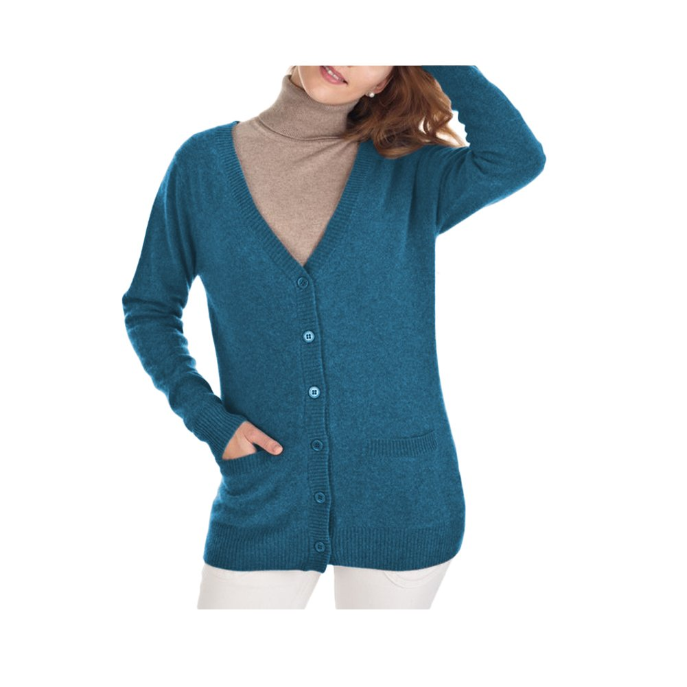 Parisbonbon Women's 100% Cashmere V-Neck Cardigan Color Carolina Blue Size L