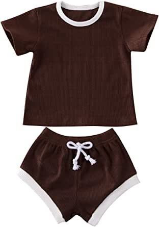 Autumn Newborn Baby Boy Girl Clothes Cute Solid Long Sleeve Top Ruffle Elastic Belt Pants Infant Outfits Set Play Wear