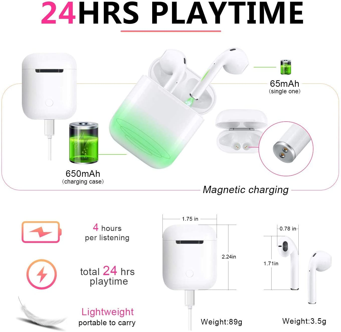 3D Stereo 24H Cycle Playtime in-Ear Wireless Headphones TWS Wireless Earbud Headphones with Charging Case Compatible with Running // airpods //Android // iPhone Bluetooth Wireless Earbuds