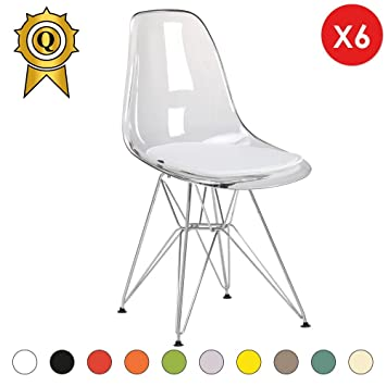 MOBISTYL Promo 6 X Chaise Design Inspiration Eiffel Pieds Acier INOX Chrome Assise Transparent DSR