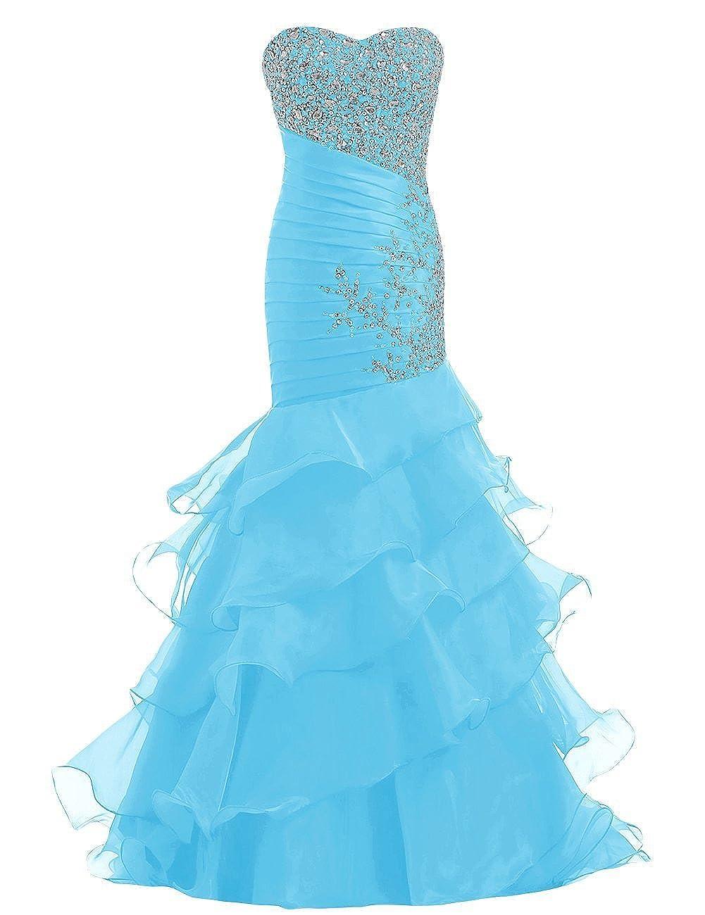 bluee YanLian Sweetheart Organza Mermaid Beaded Sequins Ruffles Long Prom Evening Dresses