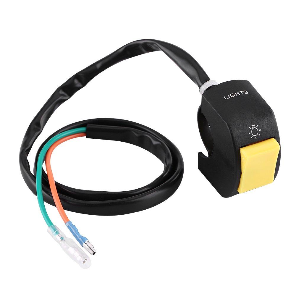 Amarillo Interruptor de manillar de la motocicleta Interruptor de encendido//apagado de faros LED universal de 12V 10A con bot/ón Montaje en manillar de 7//8 pulgadas
