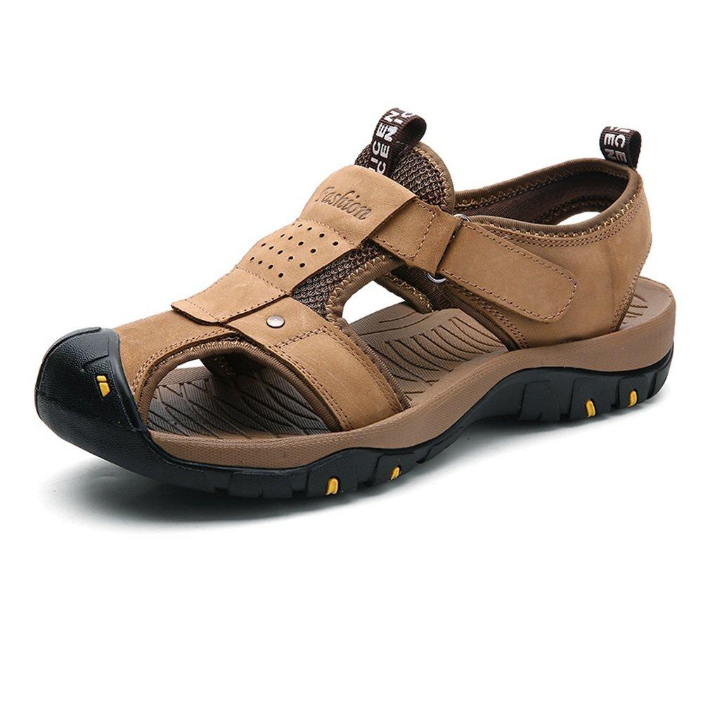 Zapatillas para Hombre Zapatillas de Playa de Cuero Genuino Sandalias Informales Perforación Transpirable Antideslizante Suave Piso Cerrado Punta Cerrada 46 EU Caqui