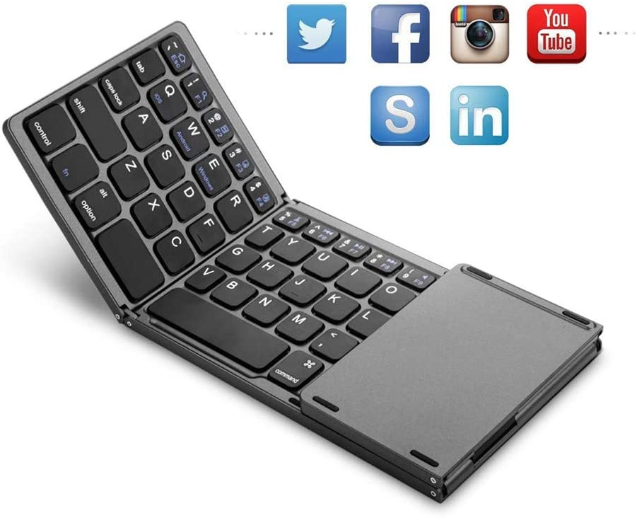 Bluetooth Keyboard Stylish Ultra-thin Portable Wireless Keyboard Foldable Bluetooth Keyboard Ergonomic Design Is Very Suitable For Editors And People Who Travel Frequently Suitable for Home Office