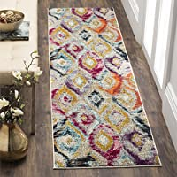 Safavieh Monaco Collection MNC242F Modern Geometric Ogee Watercolor Multicolored Distressed Runner (22 x 12)
