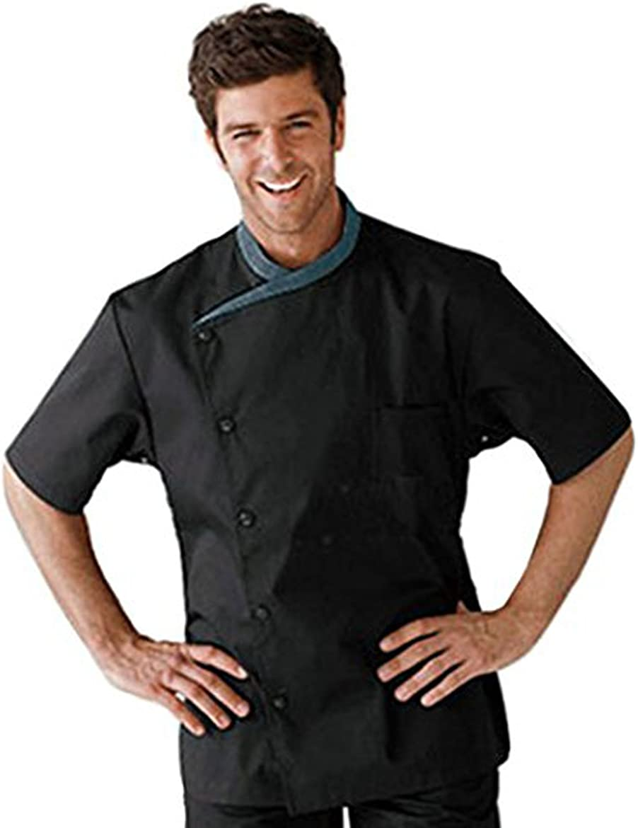 S.S Five Star Chef Apparel Men's Black Short Sleeve Classical Shawl Collar Master Chef Coat Uniforms