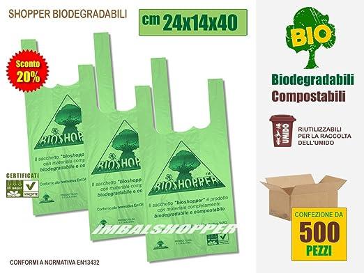 3 opinioni per SCONTO 20% Shopper Biodegradabili Compostabili cm 24x14x40- Scatola da 500