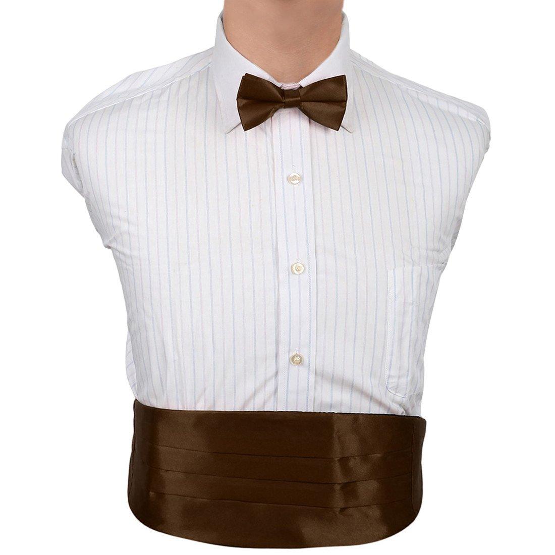 Dan Smith Mens Fashion Multicolored Solid Microfiber Best Cummerbund Bow Tie Set With Free Gift Box