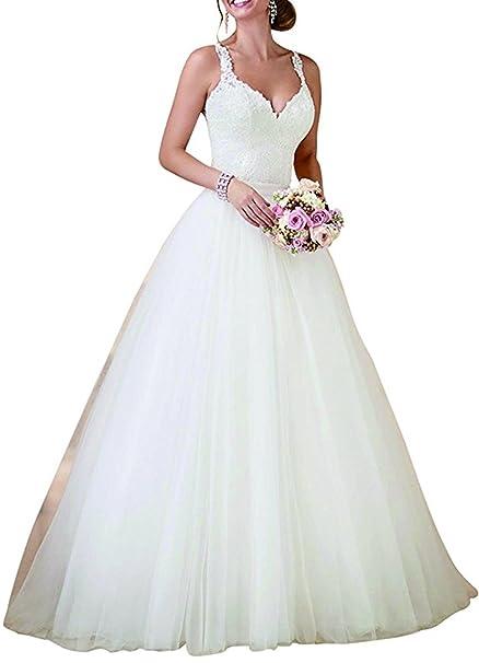 XUYUDITA Simple V-cuello de encaje de encaje Bodice vestido de bola A-line vestido de novia: Amazon.es: Ropa y accesorios