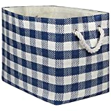 """DII Oversize Woven Paper Storage Basket or Bin, Collapsible & Convenient Home Organization Solution for Office, Bedroom, Closet, Toys, Laundry(Medium - 15x10x12""""), Navy Checkered"""