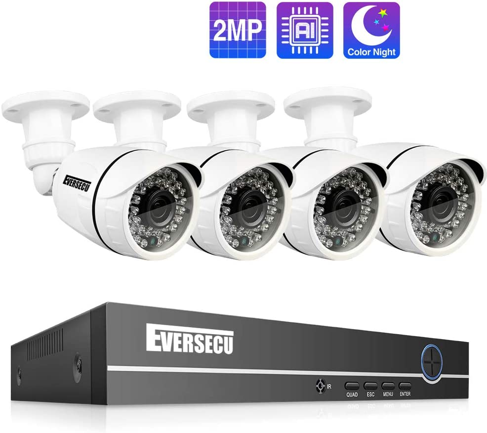 Eversecu 4 Channel Security Camera System 1080P Lite DVR and (4) 2.0MP 1080P Weatherproof Cameras Support Night Vison Weatherproof, Motion Alert, Smartphone, PC Easy Remote Access (NO HDD Included) …