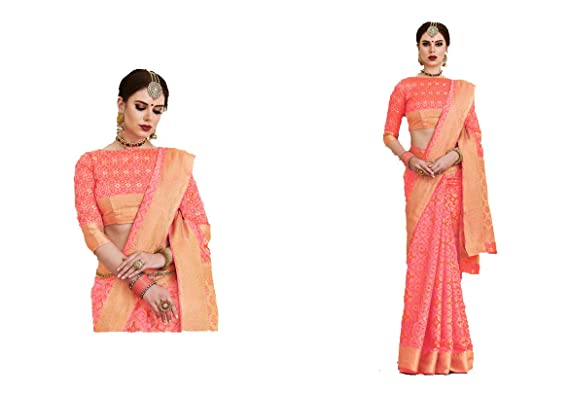 d01f38aad3a Image Unavailable. Image not available for. Colour: VIVID Designs VIVID Designs's  Coral Banarasi woven silk saree