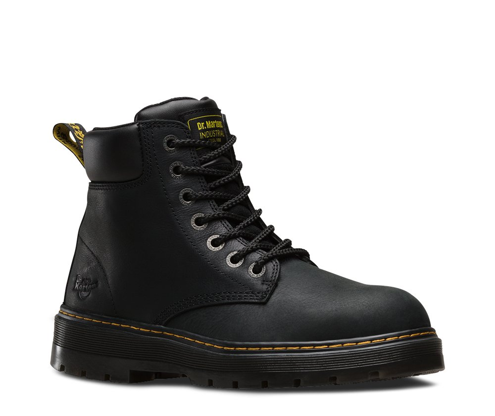 Dr. Martens Men's Winch 7-eye Lace-up Steel-toe Black Boot, Medium / 12 F(M) UK / 13 D(M) US by Dr. Martens