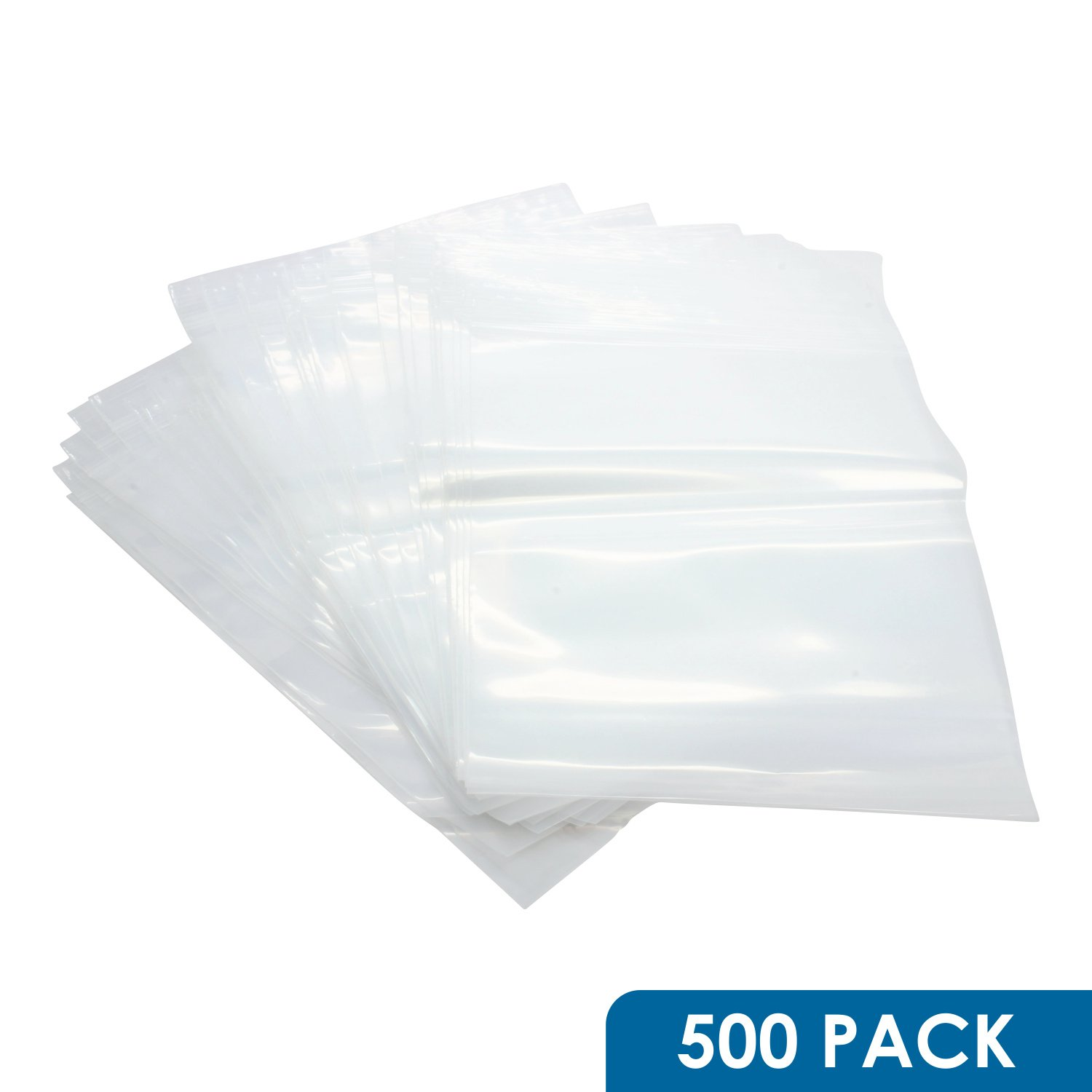 Rok Hardware Pack of 500 Heavy Duty 8'' x 10'' Resealable 4Mil Thick Plastic Big Clear Poly Zip Lock Food Safe Storage Bags by Rok