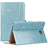 Procase Galaxy Tab A 10.1 Case 2016 Old Model, Stand Folio Case Cover for Galaxy Tab A 10.1' Tablet SM-T580 T585 T587 (NO S Pen Version) with Multiple Viewing Angles, Card Pocket -Glitter Blue