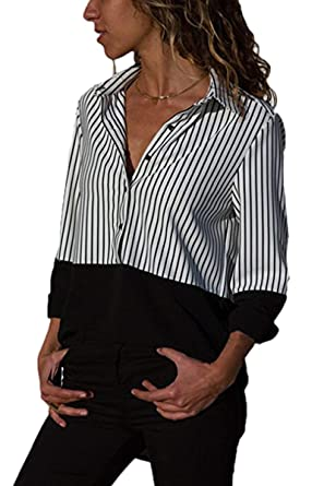 a723fb41 LEISUP Womens Button Down High Low Long Sleeve Striped Patchwork T-Shirt  Top at Amazon Women's Clothing store: