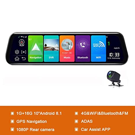 XIAOGUIGUI Android 8.1 Car DVRs Cámara GPS Navi Mirror ...