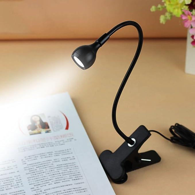 Rrimin USB Flexible Reading LED Light Clip-on Beside Bed Table Desk Lamp (White Light Black) Clip Lights at amazon