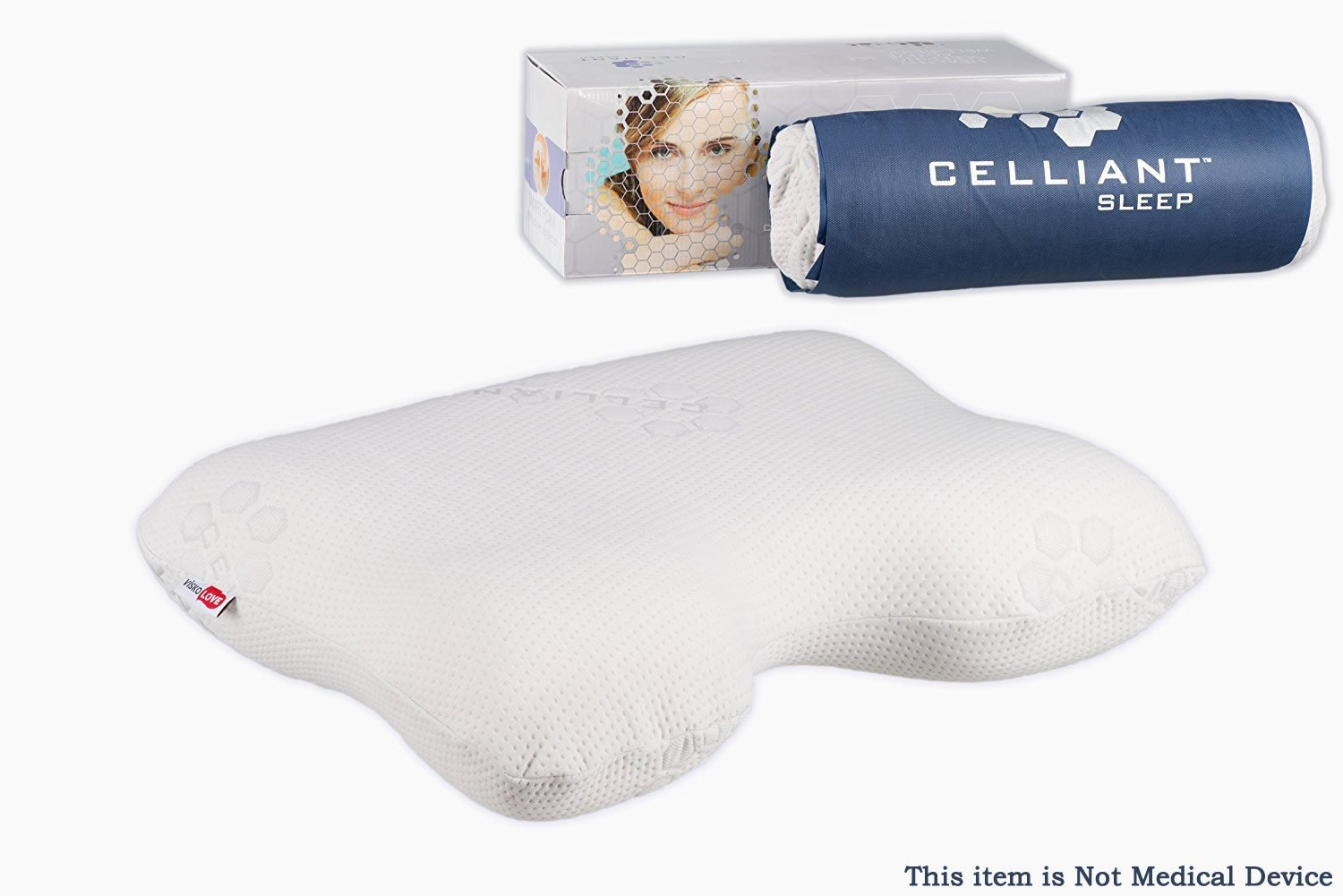 VISCO LOVE Celliant Sleep Orthopedic Wellness Cervical Neck with Ergonomic Contoured Head Memory Foam Pillow by US LLC.