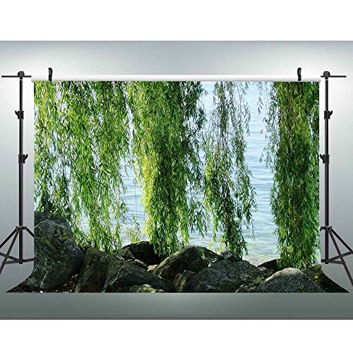 (River Bank Weeping Willow Backdrop 7x5ft Rural Natural Scenery Photography Background Picnic Party Decorations VV932)