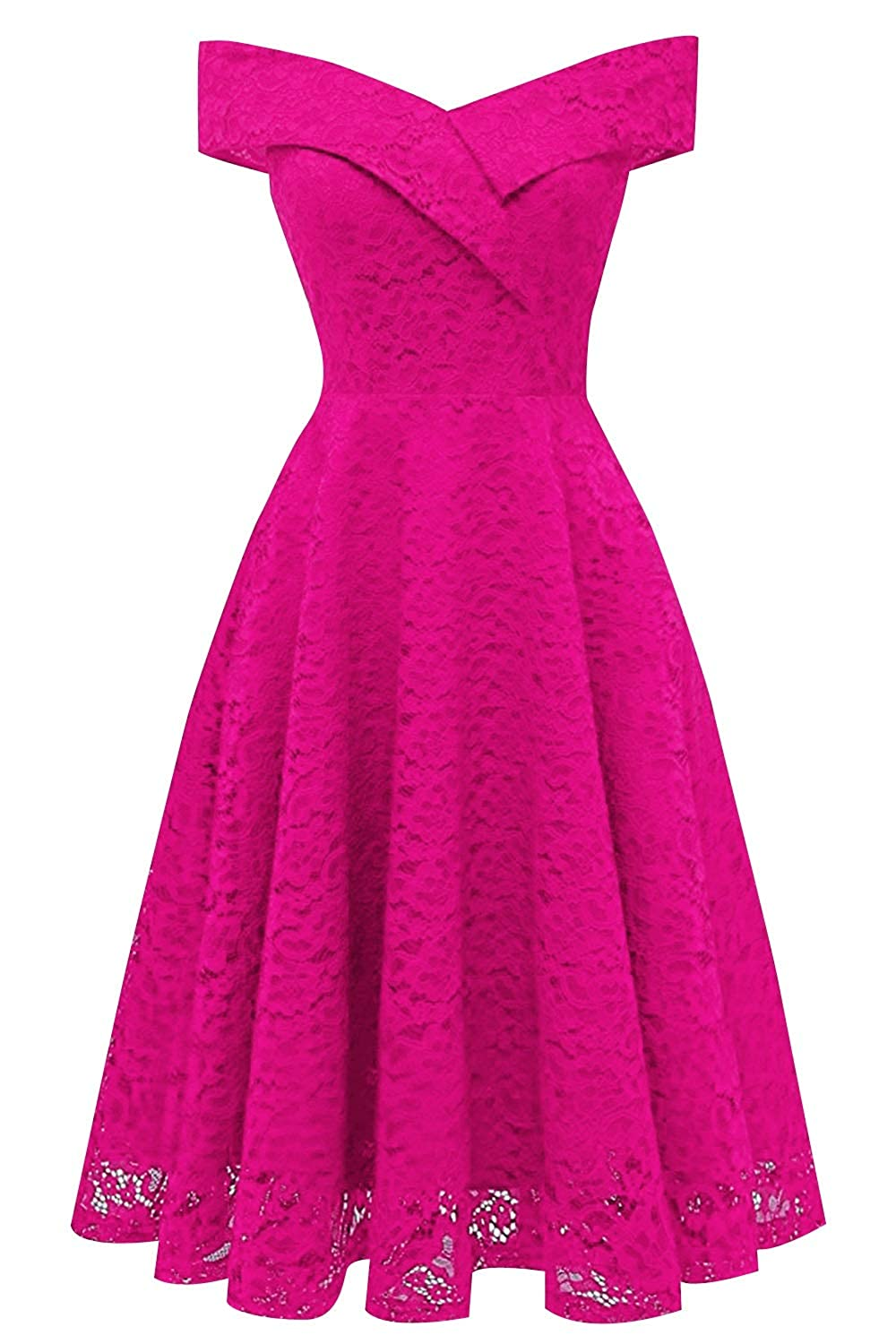 Fuchsia MorySong Women's Lace Off The Shoulder Knee Length Cocktail Homecoming Dress