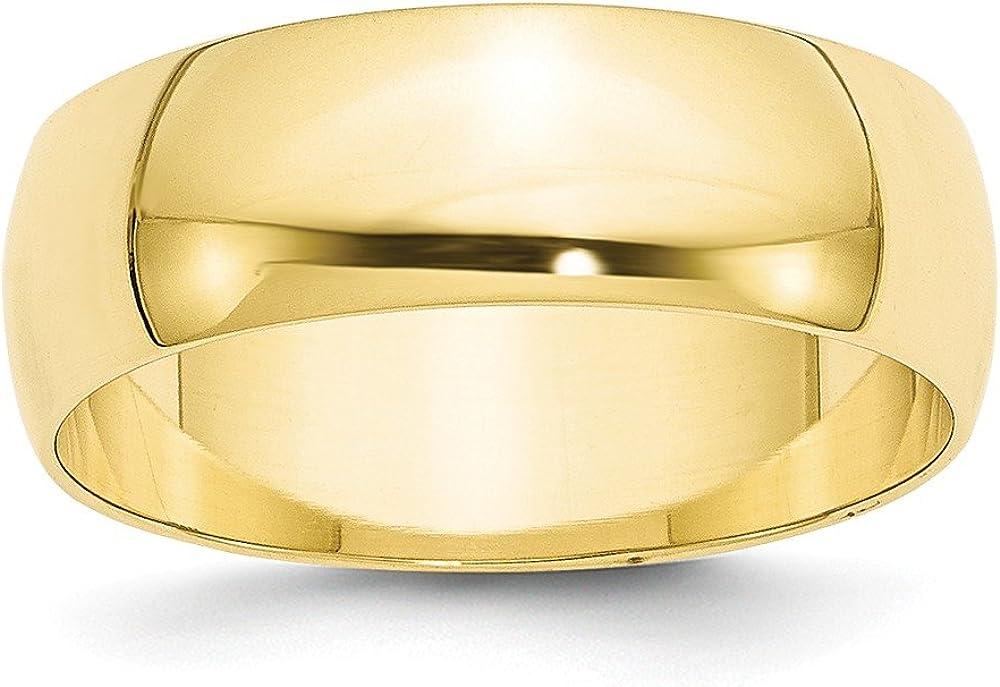 Brilliant Bijou 10k Yellow Gold 7mm LTW Half Round Mens Womens Wedding Anniversary Band