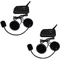 V6PRO 1200m Intercom Moto Bluetooth,Casques Kit Moto Main Libre Ecouteur Bluetooth/Oreillette Anti Bruit Casque Communication Système Microphones,Connecter Jusqu'à 6 Riders,pour Moto,Vélo(2 Pack)