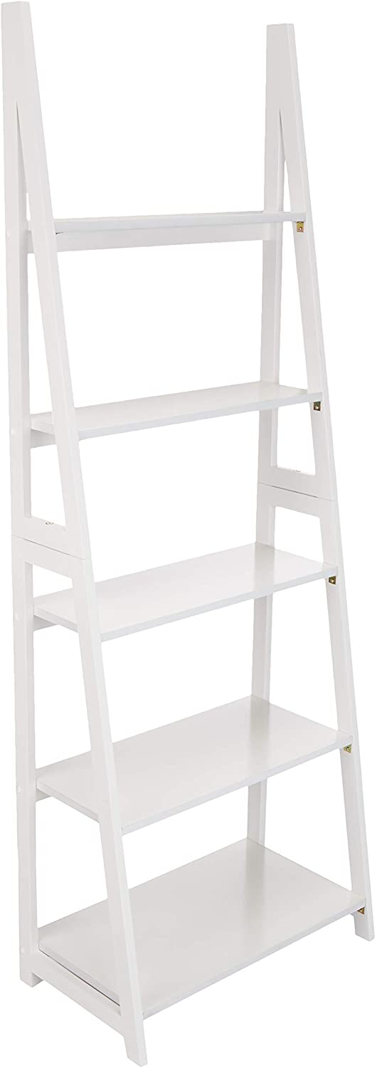 AmazonBasics Modern Ladder Bookcase with Solid Rubber Wood Frame - White
