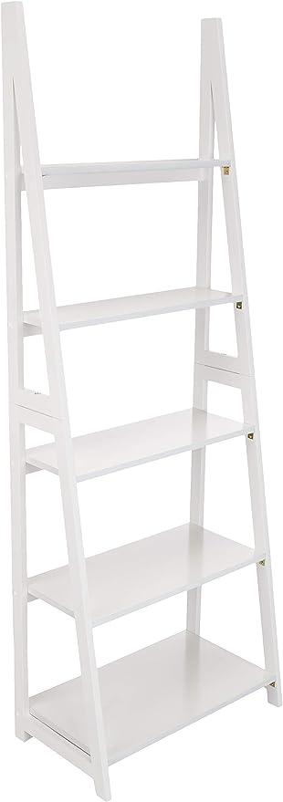 Amazon Basics – Estantería escalonada de estilo moderno con bastidor de madera de caucho macizo, Blanco